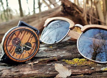 montre en bois et lunette en bois