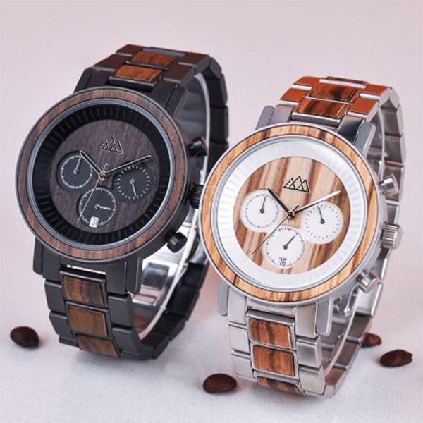 montre en bois chronographe